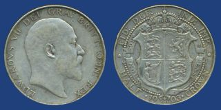 1903 King Edward VII Half Crown Silver Coin