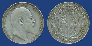 1903 King Edward VII Half Crown Silver Coin
