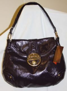 Elliott Lucca Boysenberry Purple Patent Leather Opal Solid Hobo $268