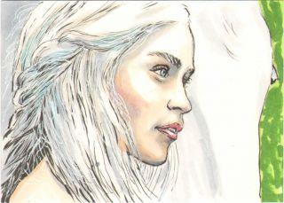 Game of Thrones Emilia Clarke SKETCH Original SKETCH CARD Matthew