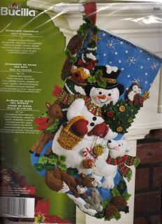 Bucilla Felt Woodland Animals Snowman Christmas Stocking Kit 18 86201
