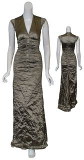 Nicole Miller Metallic Taupe Long Eve Gown Dress 2 New