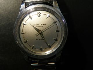 Vintage Ernest Borel Mens 17 J Auto Wrist Watch Serviced Running Good