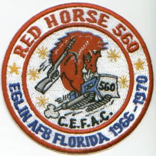 Red Horse Patch Red Horse 560 Eglin AFB Florida 1966 70 Cefac