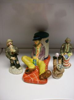Clown Figurines 4 Emmett Kelly Jr Clowns By Flambro Collectibles