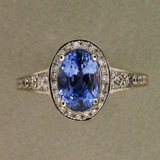 82 ELONGATED OVAL VIOLET BLUE SAPPHIRE 18K WHITE GOLD HALO PAVE