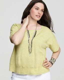 148 Eileen Fisher Plus Size Studded Linen Boxy Top Grapefruit Yellow