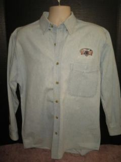 Sz M Mens All Sport Real Good Denim Shirt Lt Blue Western Lasso & Six