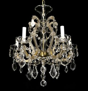 Antique Crystal Chandelier Vintage Maria Theresa Glass French Italian