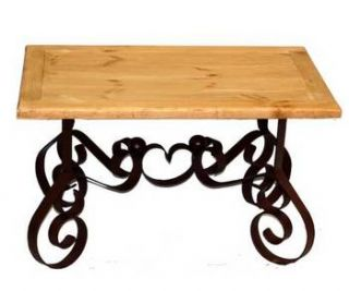 Bent Iron End Table With Wood Top   Real Wood
