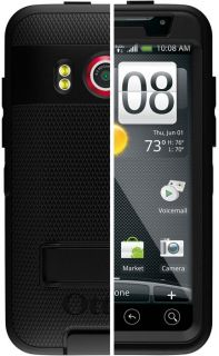 DEFENDER BLACK CASE + BELT CLIP HOLSTER FOR SPRINT HTC EVO 4G PHONE