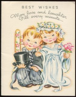 Vintage WEDDING CONGRATULATIONS Greeting Card White Wyckoff c1940s 50s