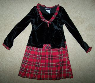 Emily West Girls Christmas Dress Red Green Gold Plaid Black Velvet
