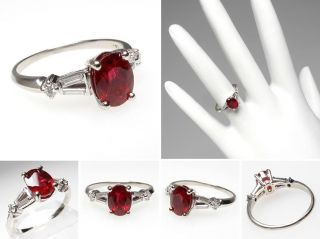 Estate Natural Ruby & Diamond Engagement Ring solid 14K White Gold sku