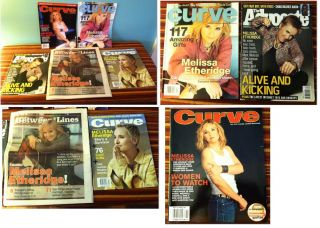 Lot of 5 Melissa Ethridge Magazines Curve Advocate Between The Lines