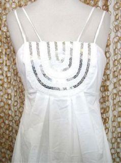 BCBG MAXAZRIA Womens Gorgeous White Empire Waist Embellished Dress Sz