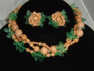 Eugene Earrings Necklace Glass Leaf Bead Flowers Chunky Clip Back
