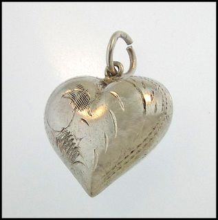 Plump Puffy Heart Charm Hand Engraved Vintage Sterling Silver Pendant