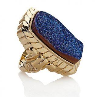 Jewelry Rings Gemstone Cobalt Blue Drusy and White Topaz Vermeil