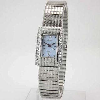 Silver Tone Austrian Crystal Expansion Bracelet Watch