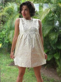 Vtg Gold Metallic Brocade Beaded Mod Go Go Doll Dress