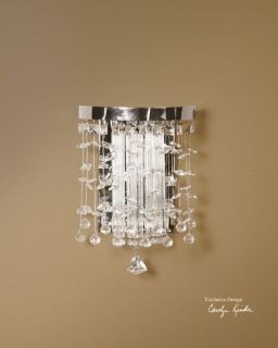 Electric Wall Sconce 60 Watt Light Modern Chrome Plated Rim Crystal