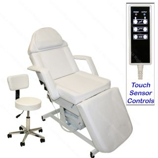 White Electric Massage Facial Table Bed Chair Barber Beauty Spa Salon