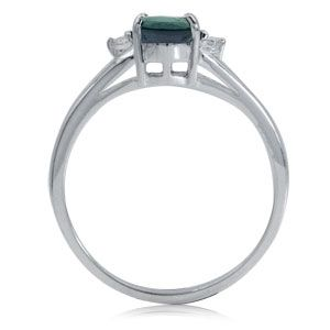 Color Change Alexandrite White Topaz Sterling Silver Engagement Ring