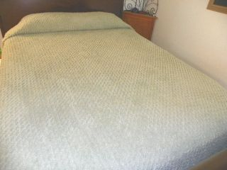 Extra Long Twin Full Chenille Sage Green Bedspread Diamond Pattern 110