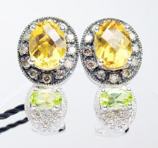 New 14kt White Gold Earrings Citrine Peridot Chocolate Diamonds by