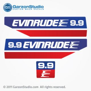 evinrude outboard 9 9 decals 1970 s early 80 s set you will get left