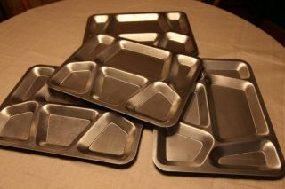 Metal Stainless Steel Military US Army Mess Hall Divided Tray Set of 4