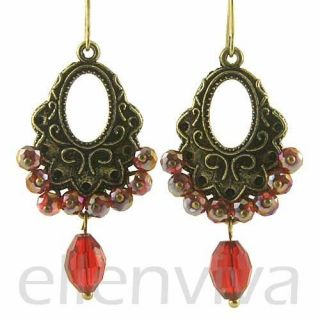 Elegant Red Beads Drop Dangle Earrings Jewelry Vintage Gold Tone