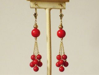 14k Solid Yellow Gold Natural Red Coral Elegant Earrings