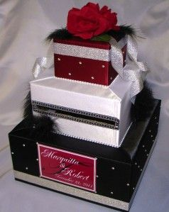 Elegant Custom Made Wedding Card Box Rhinestone Accents