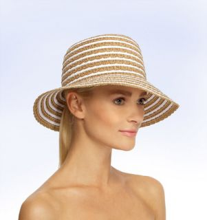 Eric Javits Braid Dame Bucket Straw Sun Hat White Mix