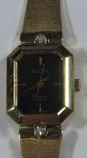 Ladies Elgin Old Diamond Quartz Wrist Watch