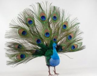 Exotic Fan Tail Peacock Christmas Feather Tree Ornament Wreath Topper