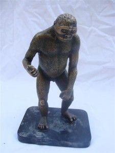 Antique Bronze Figure Prehistoric Man Cave Ape Primitive Sculpture