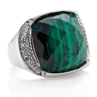 Jewelry Rings Gemstone Malachite Cushion Cut Ring with Diamond