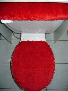 red plush very soft fabric toilet seat cover set