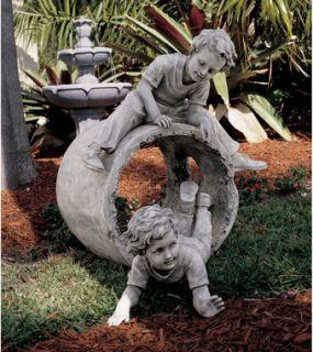 Hide and Seek Garden Sculpture Children Boy Angel Ring Statue Design