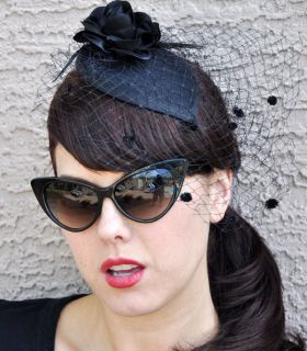 Purrfect Classic Vintage 50s 60s Cat Eye Mod Pin Up Sunglasses Black