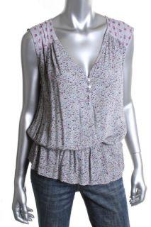 Ella Moss New Bonita Gray Floral Print V Neck Sleeveless Casual Top