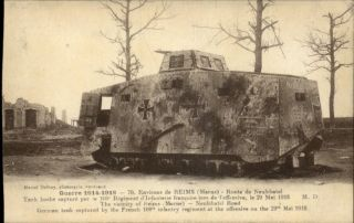 Reims Marne France WWI German Tank Captured by French Postcard