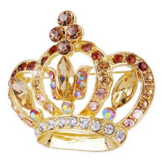 More Option Crown Brooch Pin w 50x55mm Gold Plated Rhinestone W22968