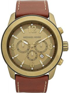 Michael Kors MK8250 Mens Chronograph Brown Leather Strap Runway Watch