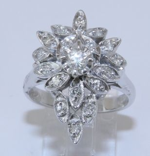 Estate Antique 14K White Gold 1 2 ct Diamond Cluster Cocktail Ring