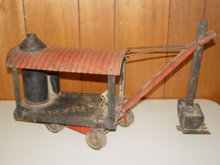 Antique Buddy L Toy Steam Shovel Pressed Steel Original Paint