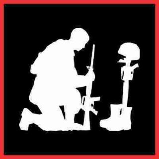 Soldier w Fallen Battle Cross Vinyl Decal Sticker 12